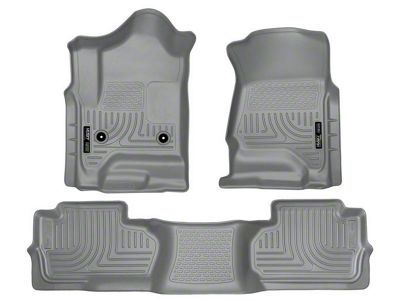 Husky WeatherBeater Front & 2nd Seat Floor Liners - Footwell Coverage - Gray (14-18 Silverado 1500 Double Cab, Crew Cab)