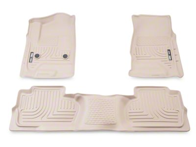 Husky WeatherBeater Front & 2nd Seat Floor Liners - Footwell Coverage - Tan (14-18 Silverado 1500 Double Cab, Crew Cab)