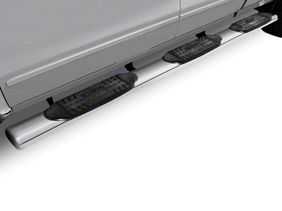 Raptor Series 5 in. Oval Wheel to Wheel Rocker Mount Side Step Bars - Polished Stainless (14-18 Silverado 1500 Double Cab, Crew Cab)