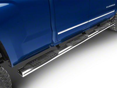 Raptor Series 6 in. Oval Wheel to Wheel Rocker Mount Side Step Bars - Polished Stainless (14-18 Silverado 1500 Double Cab, Crew Cab)
