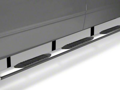 Raptor Series 6 in. Oval Wheel to Wheel Body Mount Side Step Bars - Polished Stainless (14-18 Silverado 1500 Double Cab & Crew Cab w/ Standard Box)