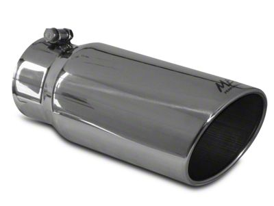 MBRP 5 in. Angled Rolled Edge Exhaust Tip - Polished Stainless - 4 in. Connection (99-18 Silverado 1500)