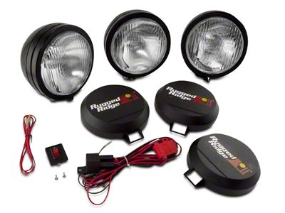 Rugged Ridge 5 in. Round HID Off-Road Fog Lights w/ Black Steel Housings - Set of Three