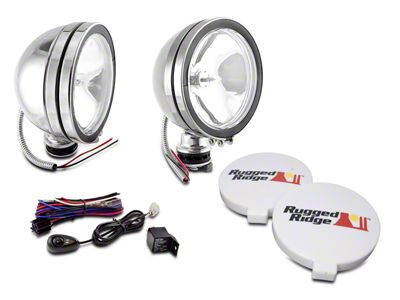 Rugged Ridge 6 in. Halogen Fog Lights - Stainless Steel - Pair