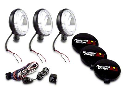 Rugged Ridge 6 in. Slim Halogen Fog Lights - Black - Set of Three