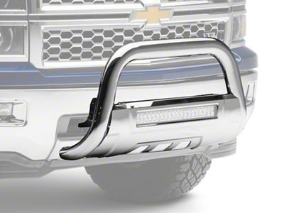 Barricade HD Bull Bar w/ Skid Plate & 20 in. LED Dual-Row LED Light Bar - Polished SS (07-18 Silverado 1500)
