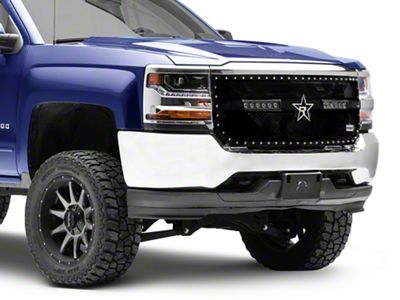 RBP RX-3 Midnight Edition Studded Frame Upper Replacement Grille w/ LEDs - Black (16-18 Silverado 1500)
