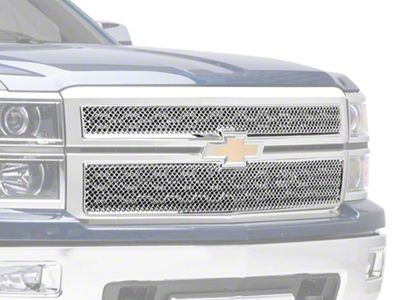 Black Horse Off Road Mesh Upper Overlay Grille - Chrome (14-15 Silverado 1500 LT, WT)