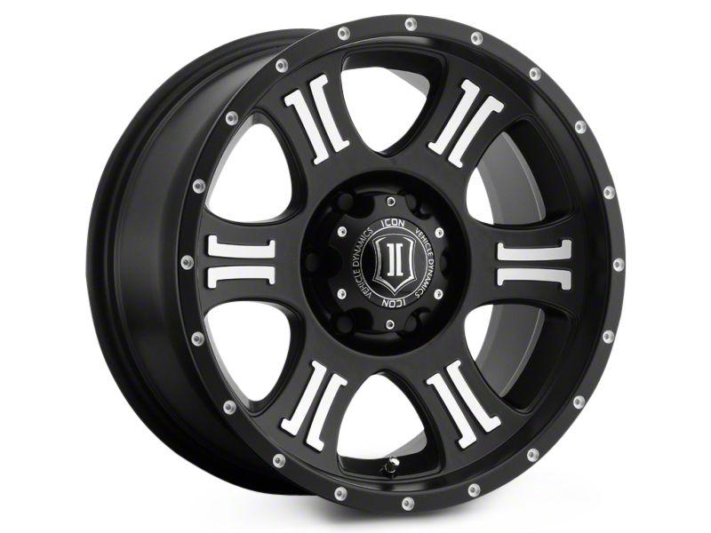 ICON Vehicle Dynamics Shield Satin Black Machined 6-Lug Wheel - 17x8.5 (99-18 Silverado 1500)