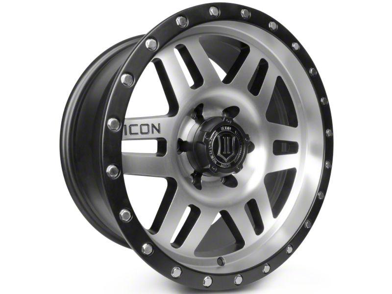 ICON Vehicle Dynamics Six Speed Satin Black Machined 6-Lug Wheel - 17x8.5 (99-18 Silverado 1500)