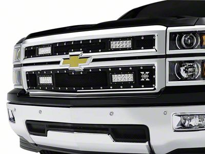 T-REX Torch Series Upper Replacement Grilles w/ Four 6 in. LED Light Bars - Black (14-15 Silverado 1500)