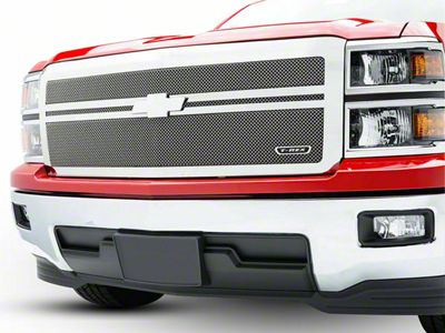 T-REX Upper Class Series 2-Bar Design Upper Replacement Mesh Grille - Polished (14-15 Silverado 1500)