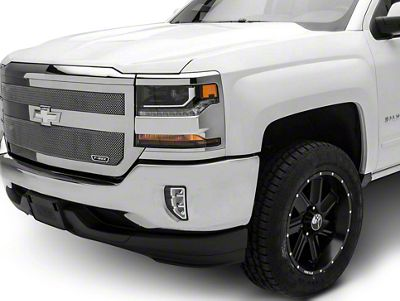 T-REX Upper Class Series 1-Bar Design Upper Replacement Mesh Grille - Polished (16-18 Silverado 1500)