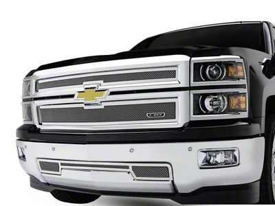 T-REX Upper Class Series Upper Replacement Mesh Grilles - Polished (14-15 Silverado 1500)