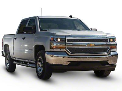 Stacked Fine Mesh Upper Overlay Grilles - Chrome (16-18 Silverado 1500)