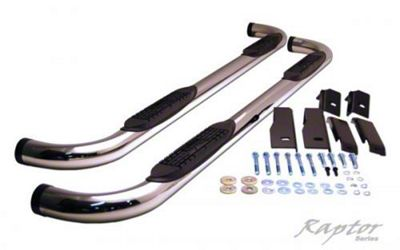 Raptor Series 3 in. Round Nerf Body Mount Side Step Bars - Polished Stainless (07-13 Silverado 1500)