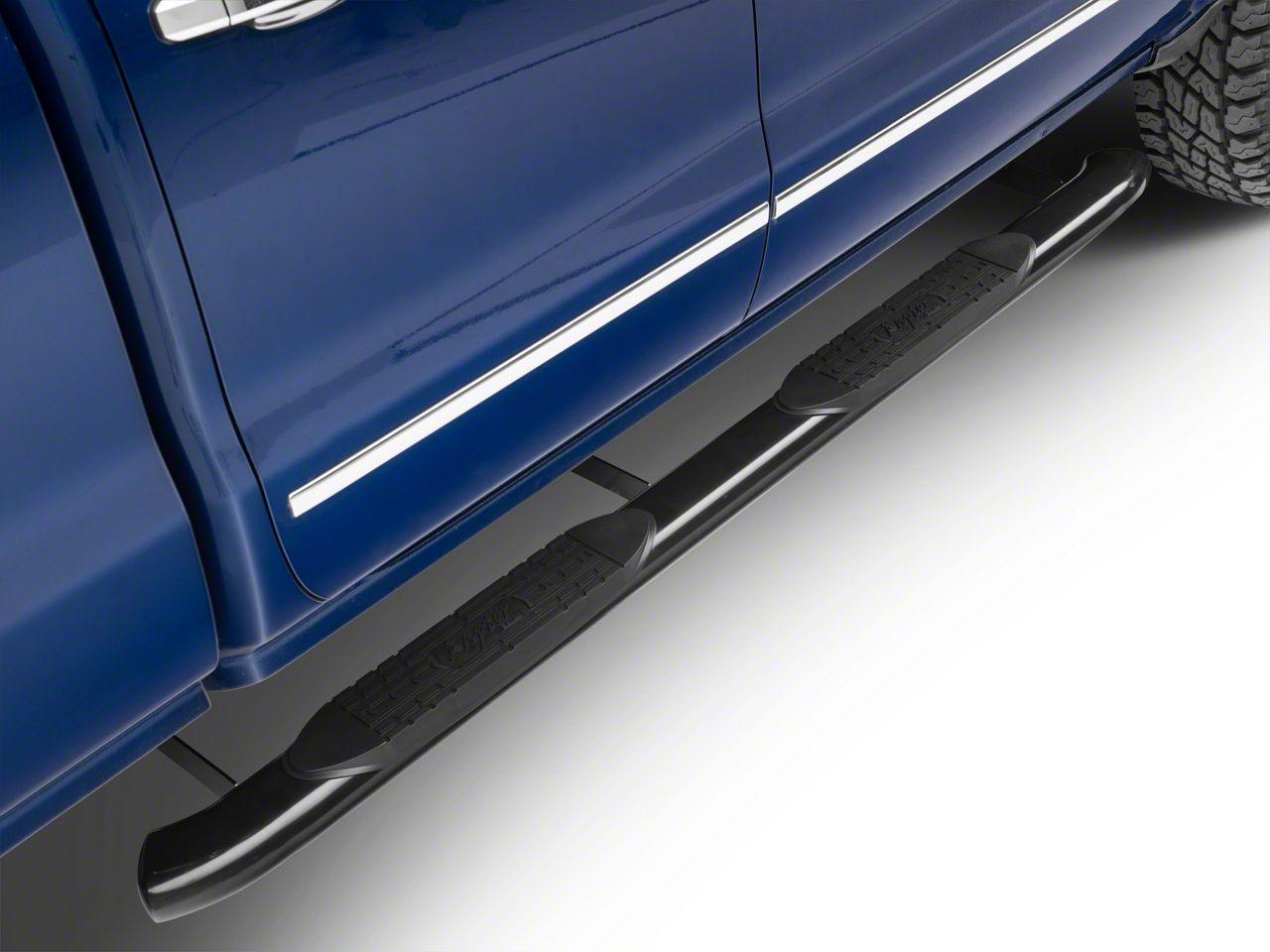 Raptor Series 5 in. OE Style Curved Oval Body Mount Side Step Bars - Black (14-18 Silverado 1500)
