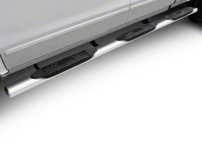 Raptor Series 4 in. Oval Wheel to Wheel Side Step Bars - Polished Stainless - Rocker Panel Mount (14-18 Silverado 1500 Double Cab, Crew Cab)