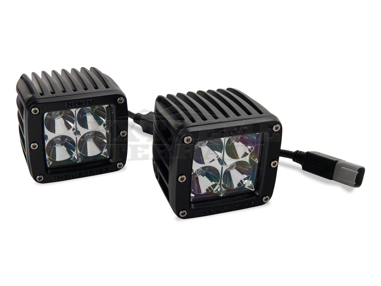 Rigid Industries D-Series Blue LED Cube Lights - Flood Beam - Pair