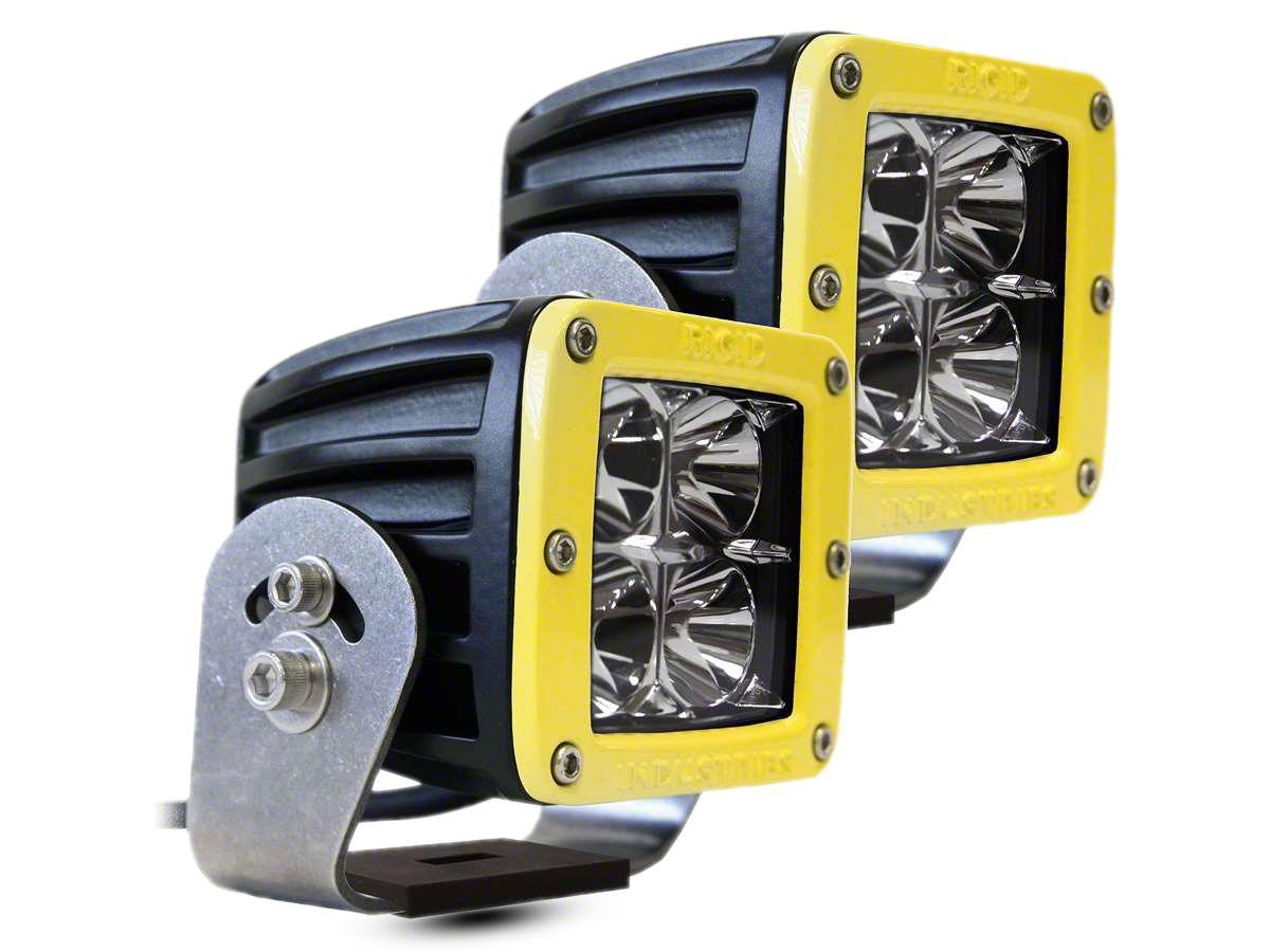 Rigid Industries D-Series HD LED Cube Lights w/ Yellow Surround - Flood Beam - Pair