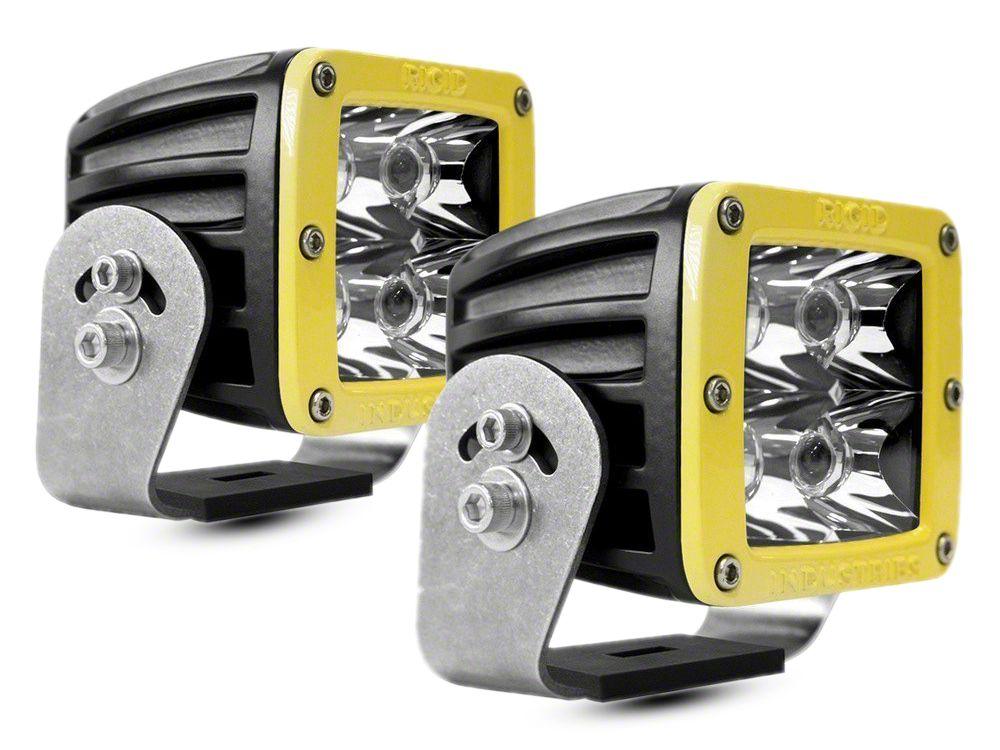 Rigid Industries D-Series HD LED Cube Lights w/ Yellow Surround - Spot Beam - Pair