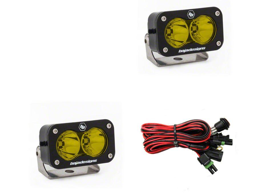 Baja Designs S2 Pro Amber LED Light - Flood/Work Beam - Pair