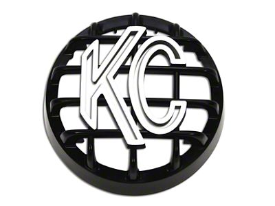 KC HiLiTES 4 in. Round Stone Guard for Rally 400 - Black w/ White KC Logo (07-18 Silverado 1500)