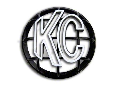 KC HiLiTES 5 in. Round Stone Guard for Apollo Series - Black w/ White KC Logo (07-18 Silverado 1500)