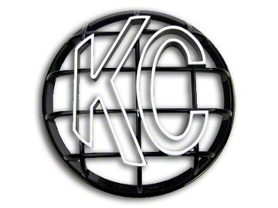 KC HiLiTES 6 in. Round Stone Guard for Apollo Series - Black w/ White KC Logo (07-18 Silverado 1500)