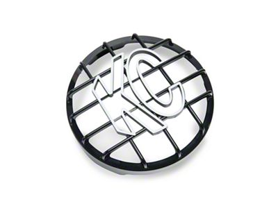 KC HiLiTES 8 in. Round Stone Guard for Rally 800 & Pro Sport - Black w/ White KC Logo (07-18 Silverado 1500)