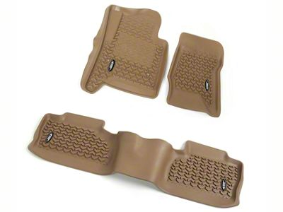 Rugged Ridge All-Terrain Front & 2nd Row Floor Liners - Tan (14-18 Silverado 1500 Crew Cab)