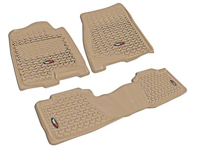 Rugged Ridge All-Terrain Front & 2nd Row Floor Liners - Tan (07-13 Silverado 1500 Extended Cab, Crew Cab)