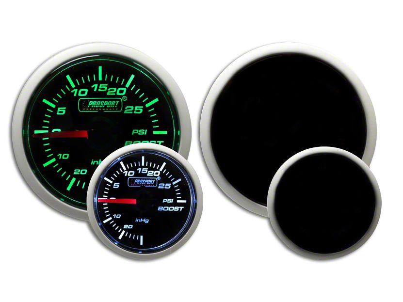 Prosport Dual Color Pressure Boost Gauge - Mechanical - Green/White (99-18 Silverado 1500)
