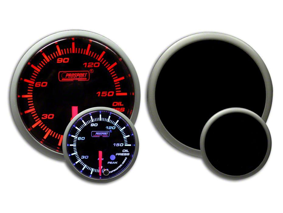 Prosport Dual Color Premium 0-150 PSI Oil Pressure Gauge - Amber/White (99-18 Silverado 1500)