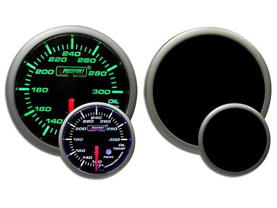 Prosport Dual Color Premium Oil Temperature Gauge - Green/White (99-18 Silverado 1500)