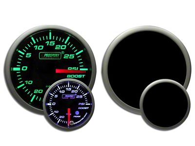Prosport Dual Color Premium White Pointer Boost Gauge - Green/White (99-18 Silverado 1500)
