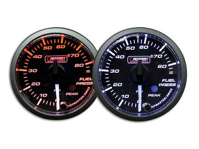 Prosport Dual Color Premium White Pointer Fuel Pressure Gauge - Amber/White (99-18 Silverado 1500)