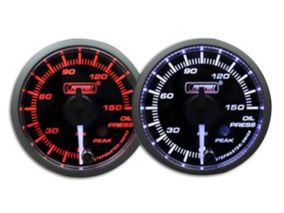 Prosport Dual Color Premium White Pointer Oil Pressure Gauge - Amber/White (99-18 Silverado 1500)