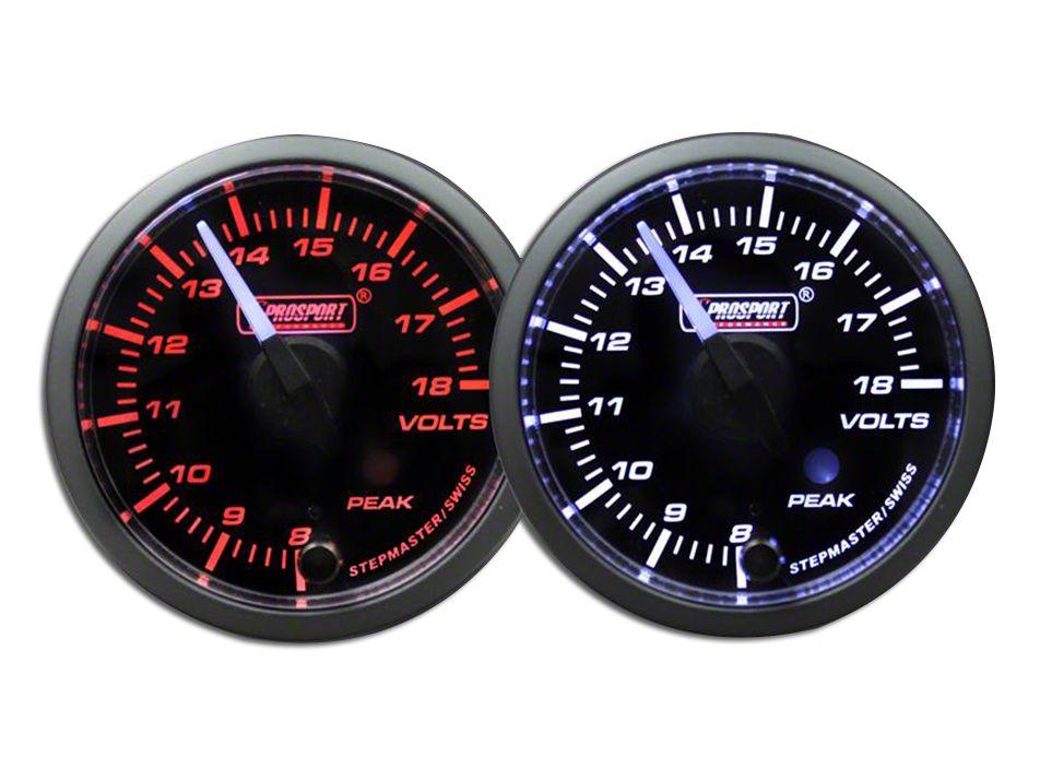 Prosport Dual Color Premium White Pointer Volt Gauge - Amber/White (99-18 Silverado 1500)