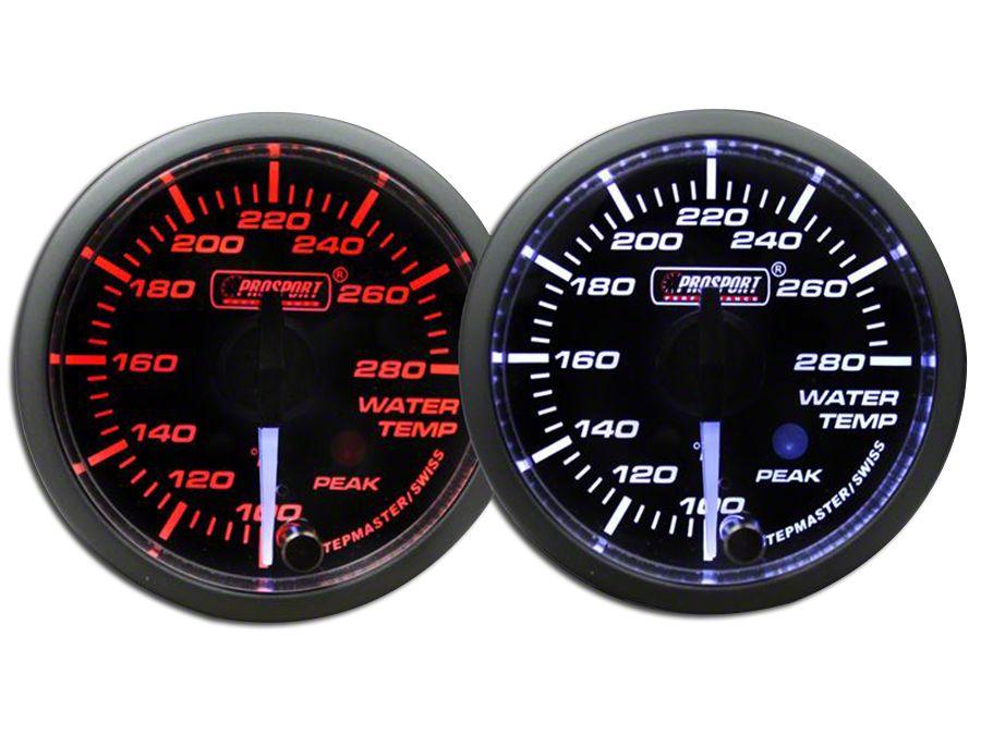 Prosport Dual Color Premium White Pointer Water Temperature Gauge - Amber/White (99-18 Silverado 1500)