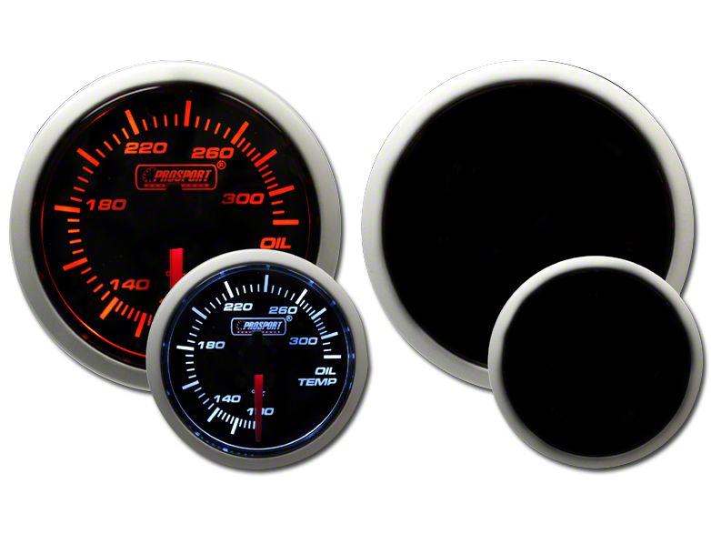 Prosport Tri-Color Halo Oil Temperature Gauge - Amber/White/Blue (99-18 Silverado 1500)