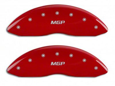 MGP Red Caliper Covers w/ MGP Logo - Front & Rear (14-18 Silverado 1500)