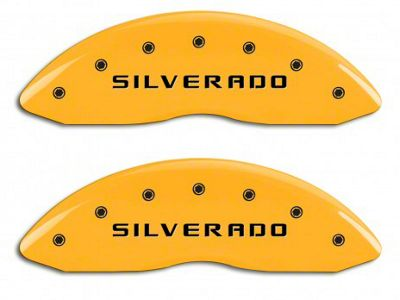 MGP Yellow Caliper Covers w/ Silverado Logo - Front & Rear (14-18 Silverado 1500)