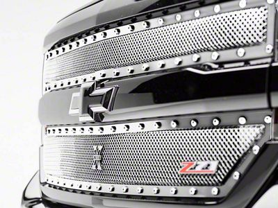 T-REX X-Metal Series Upper Grille Inserts - Polished (16-18 Silverado 1500 w/ Z71 Package)