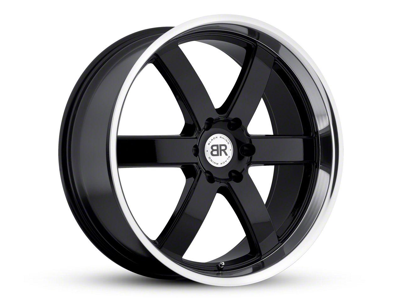 Black Rhino Pondora Gloss Black Machined 6-Lug Wheel - 22x9.5 (99-18 Silverado 1500)