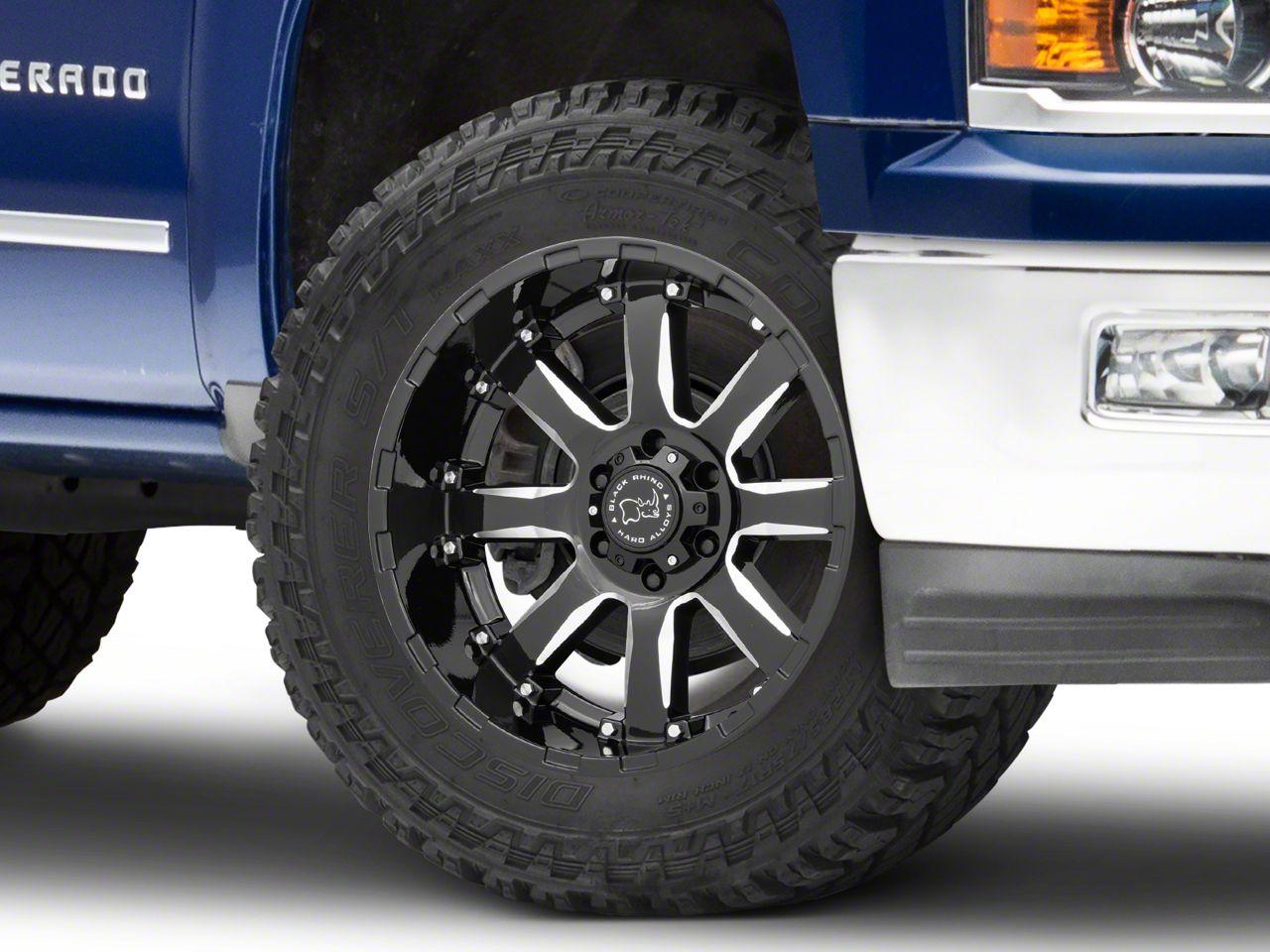 Black Rhino Sierra Gloss Black Milled 6-Lug Wheel - 20x10 (99-18 Silverado 1500)