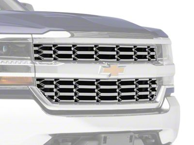 Black Horse Off Road OEM Look Upper Overlay Grille - Chrome (16-18 Silverado 1500)