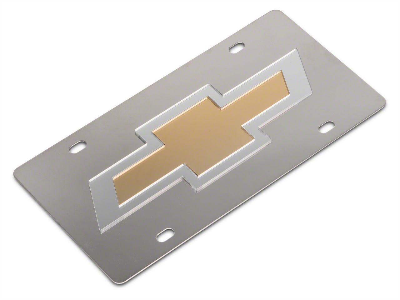 SpeedForm Stainless Steel License Plate w/ Gold Bowtie Logo (99-18 Silverado 1500)