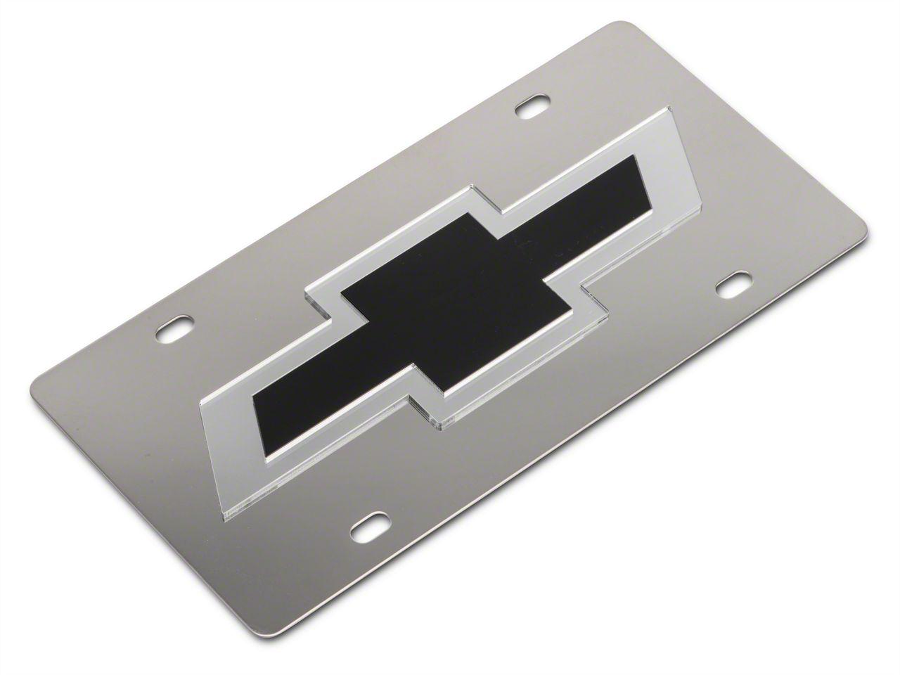 SpeedForm Stainless Steel License Plate w/ Black Bowtie Logo (99-18 Silverado 1500)