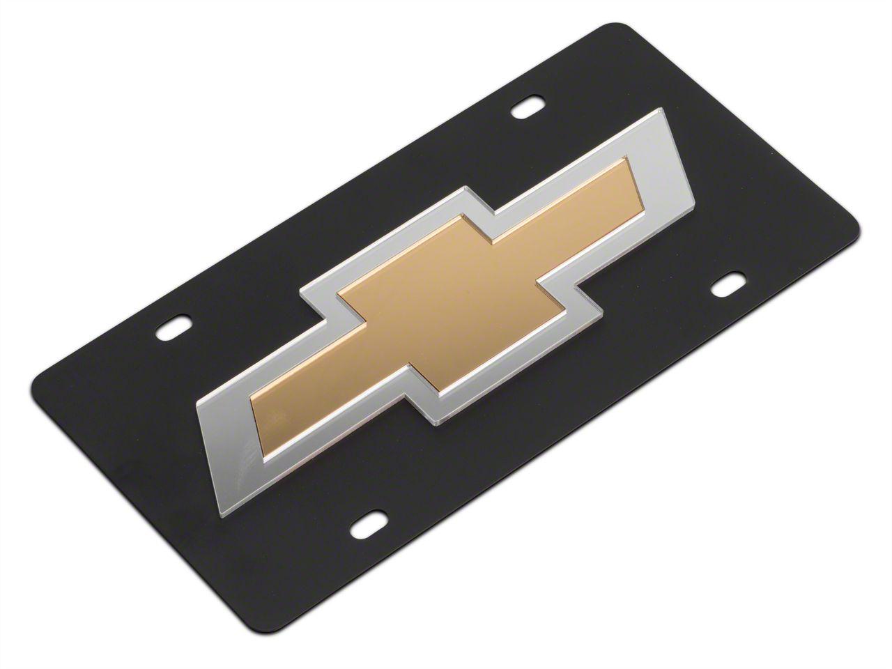 SpeedForm Carbon Steel License Plate w/ Gold Bowtie Logo (99-18 Silverado 1500)